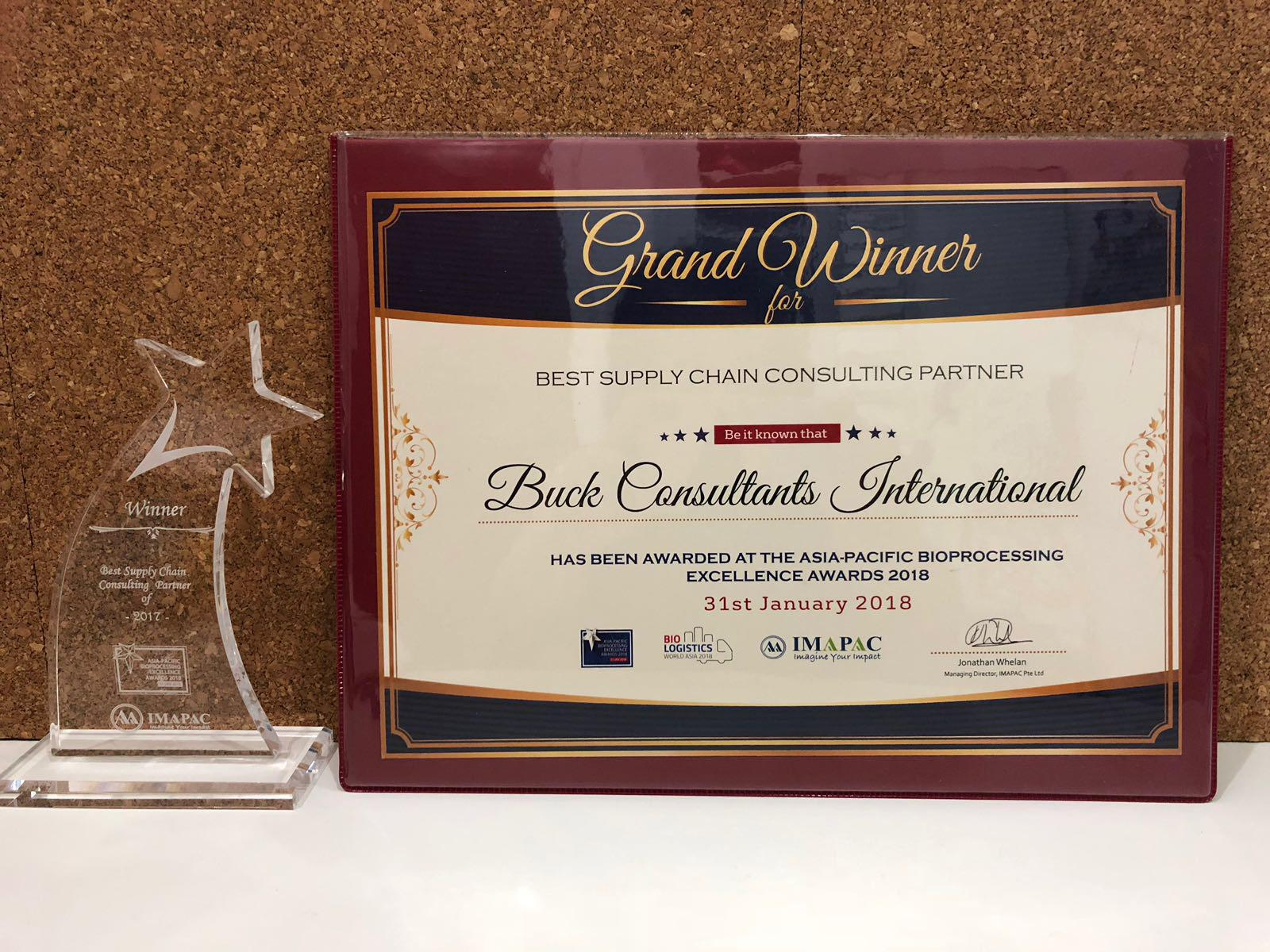 Buck Consultants International wins industry award for Best Supply Chain Consulting Partner in Asia